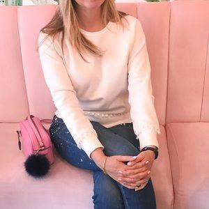 J. Crew Pom Pom Pink Cotton Sweatshirt